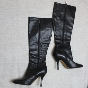 Via Spiga Leather Black tall boots Size 7